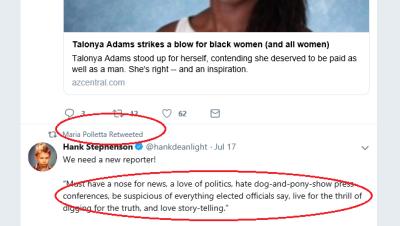 Polletta tweets Stephenson