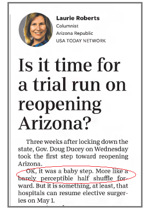 Roberts mocks Ducey for taking Baby Steps